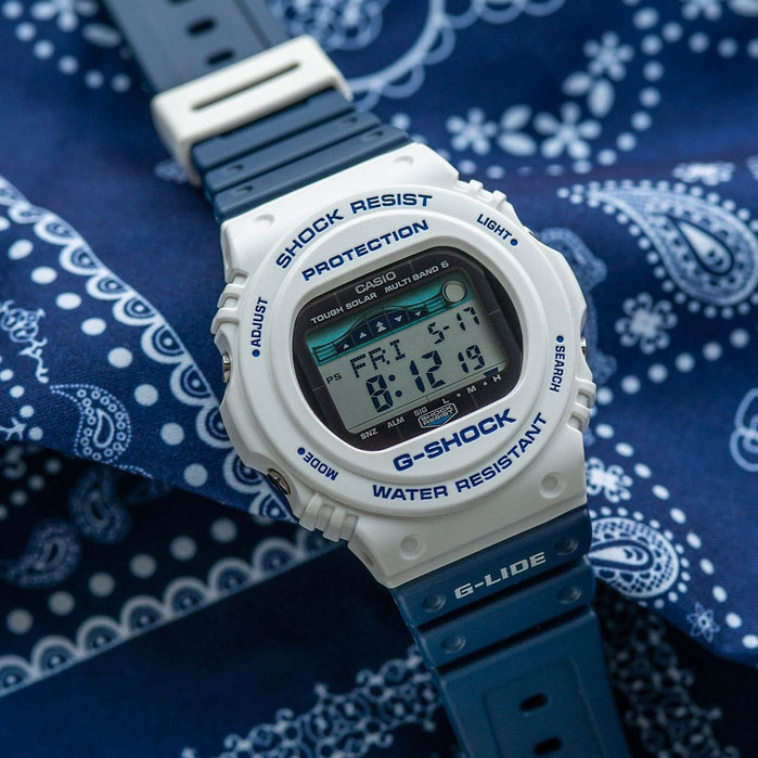 G-Shock GWX-5700 G-Lide Tide Digital White Navy angled shot picture