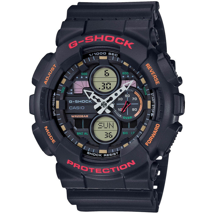 G-Shock GA140 90's Collection Ana-Digi Black Red angled shot picture