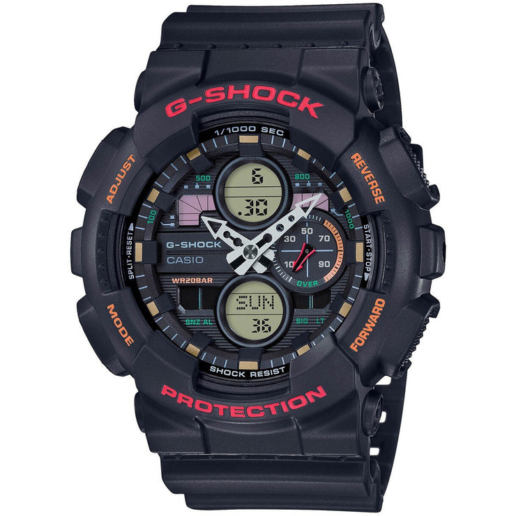 G-Shock GA140 90's Collection Ana-Digi Black Red