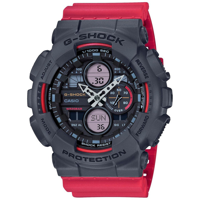 G-Shock GA140 90's Collection Ana-Digi Red Grey angled shot picture
