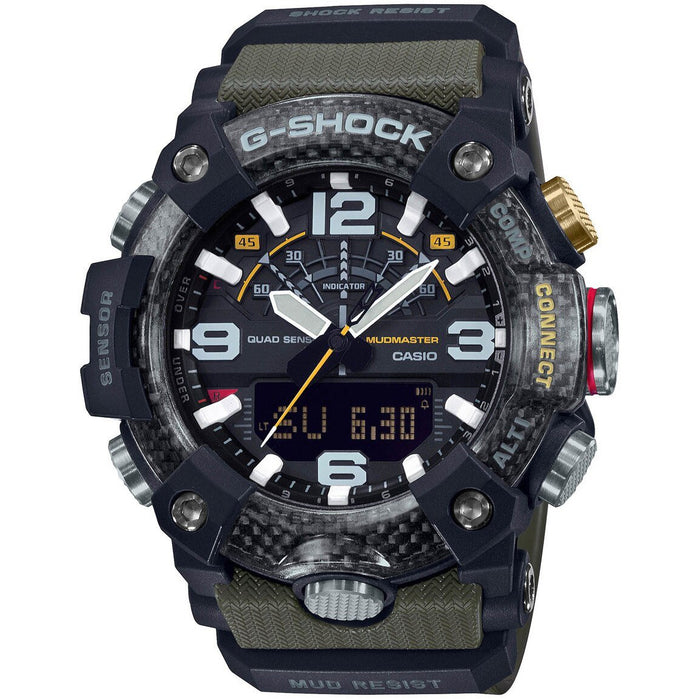 G-Shock GGB100 Mudmaster Connected Ana-Digi Olive Grey angled shot picture