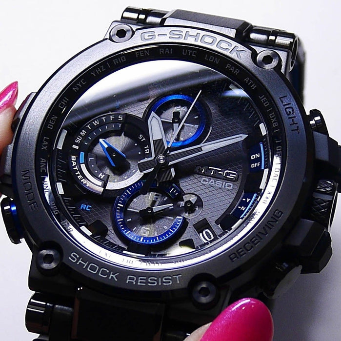 G-Shock MTG-B1000 Connected Solar Black Blue angled shot picture