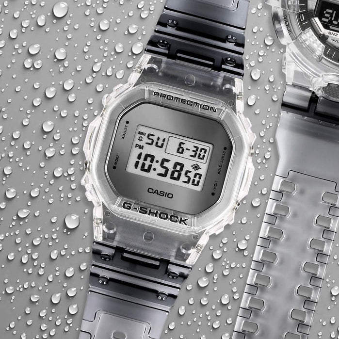 G-Shock DW5600 Skeleton Classic Clear Grey angled shot picture