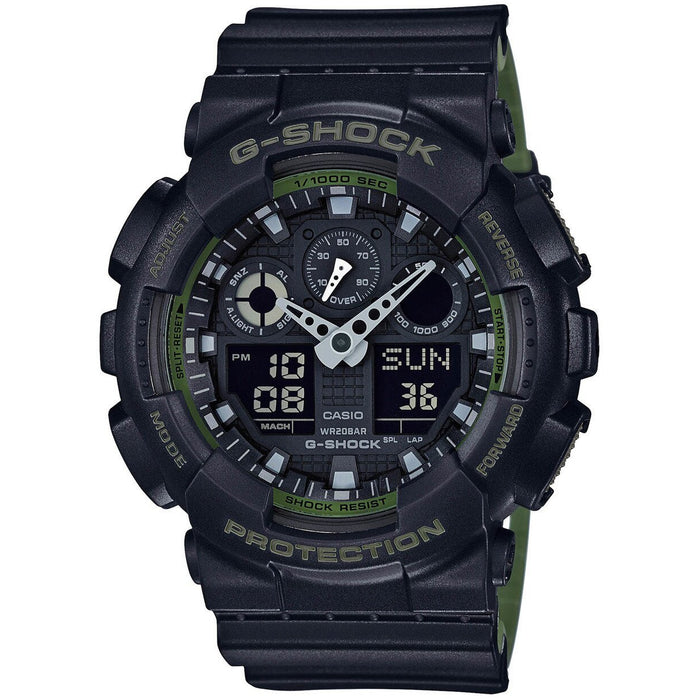 G-Shock GA-100 Military Series Black Green angled shot picture