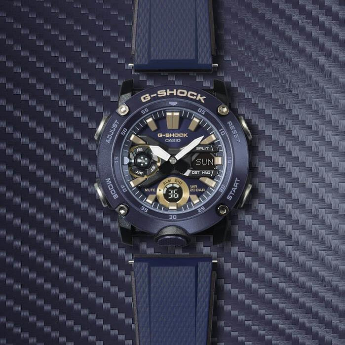 G-Shock GA2000 Carbon Core Ana-Digi Navy Gold angled shot picture