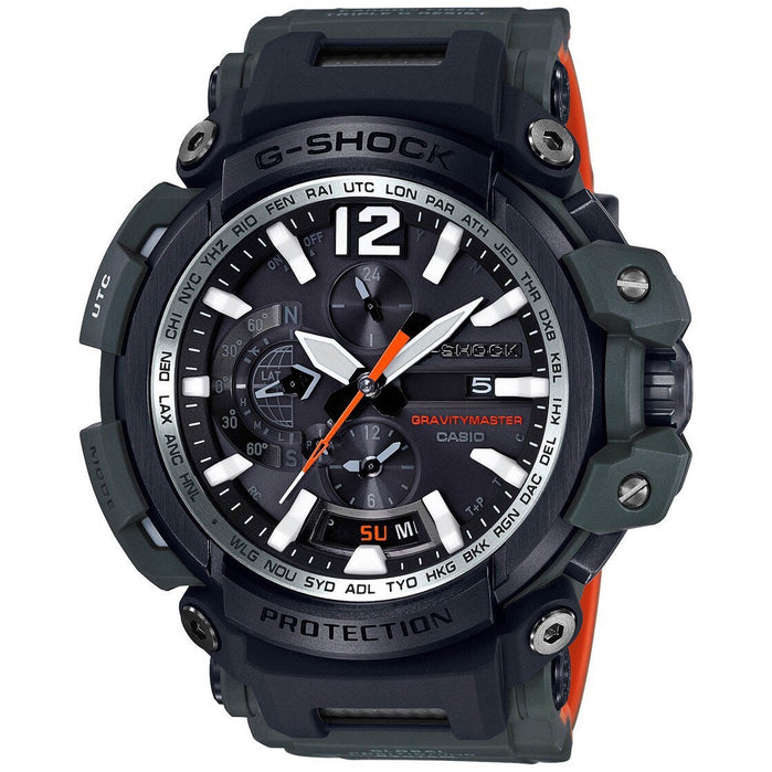 G-Shock GPW2000 Gravitymaster GPS Connected Olive Orange angled shot picture