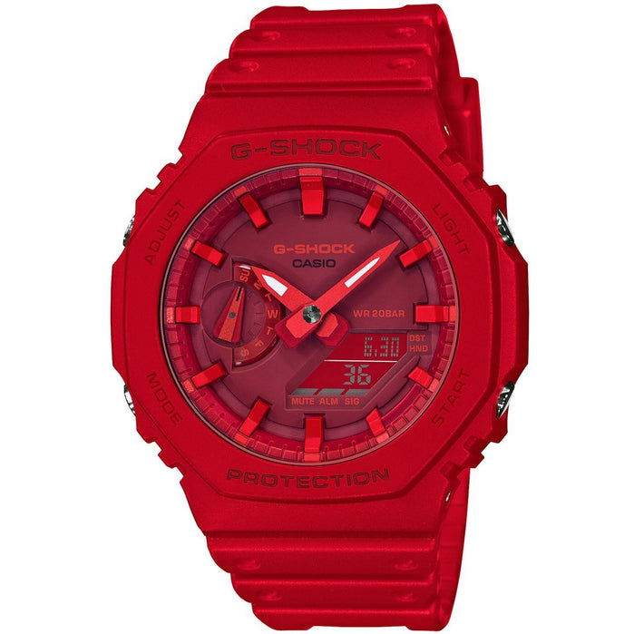 G-Shock GA2100 Carbon Core Guard Ana-Digi Red Out angled shot picture