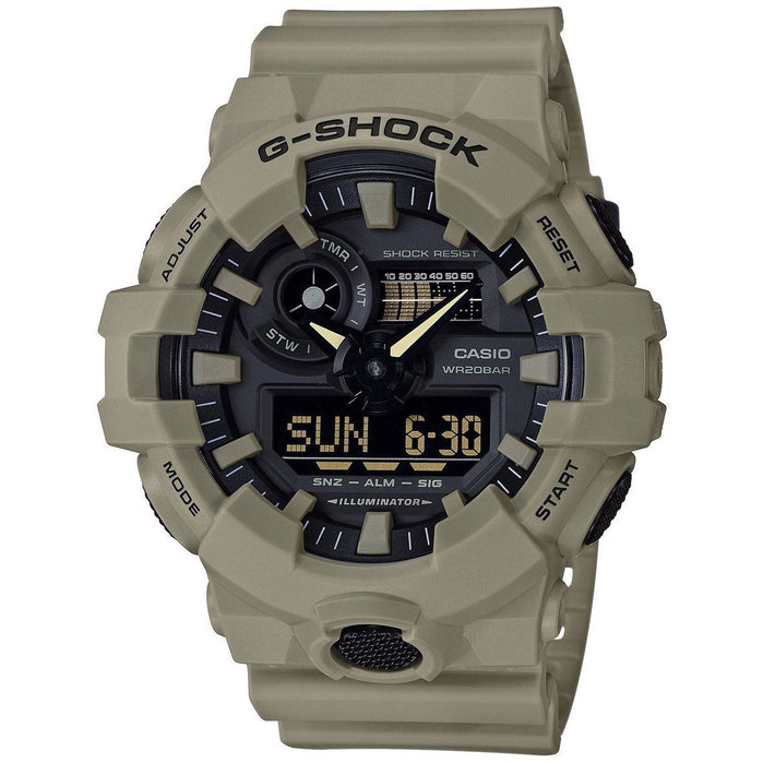 G-Shock GA700 Ana-Digi Tan angled shot picture
