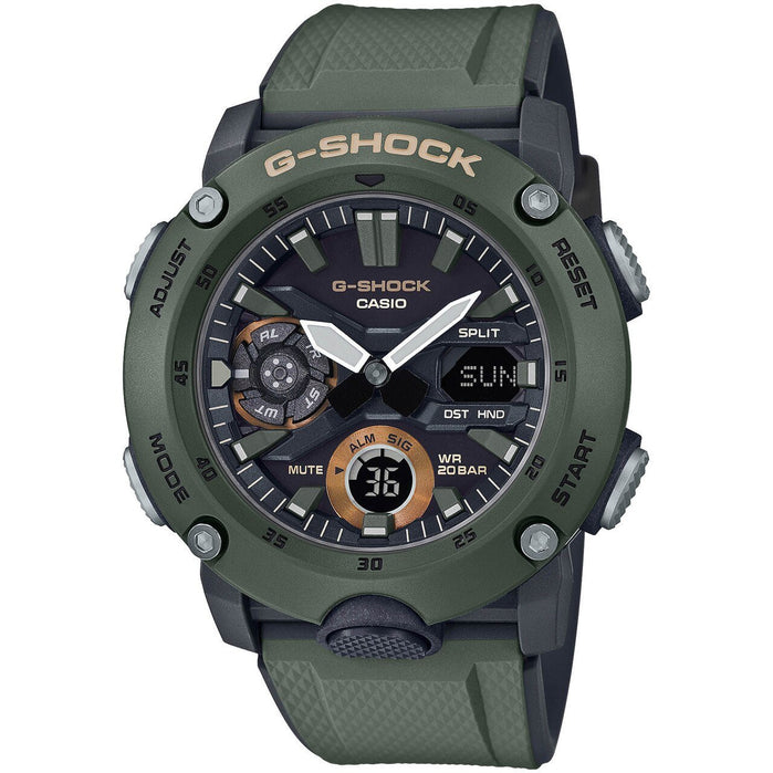 G-Shock GA2000 Carbon Core Ana-Digi Olive angled shot picture