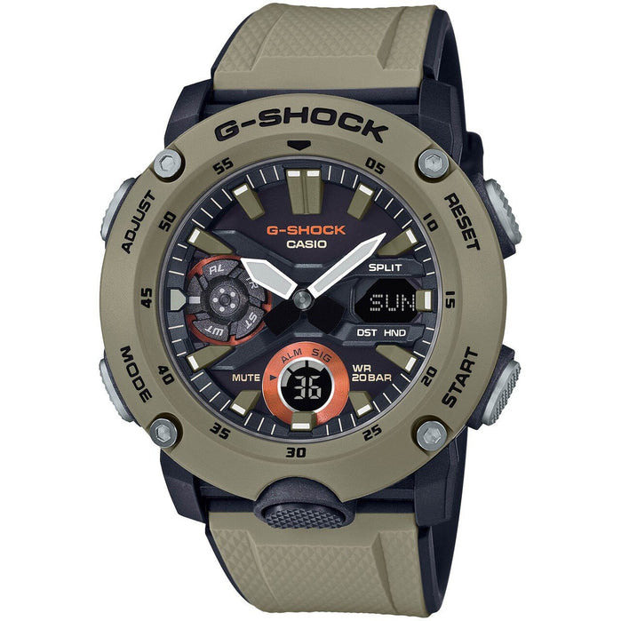 G-Shock GA2000 Carbon Core Ana-Digi Tan angled shot picture