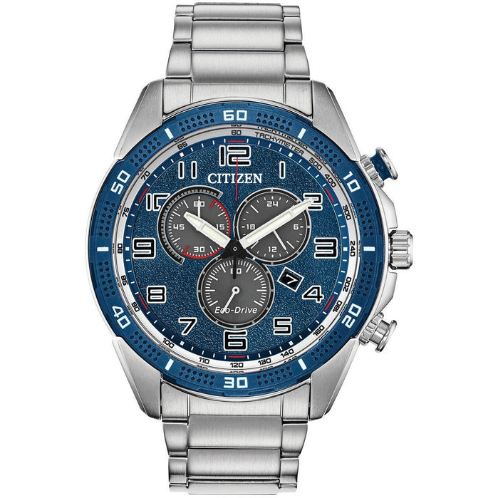 Citizen Eco-Drive Action Required LTR Silver Blue angled shot picture