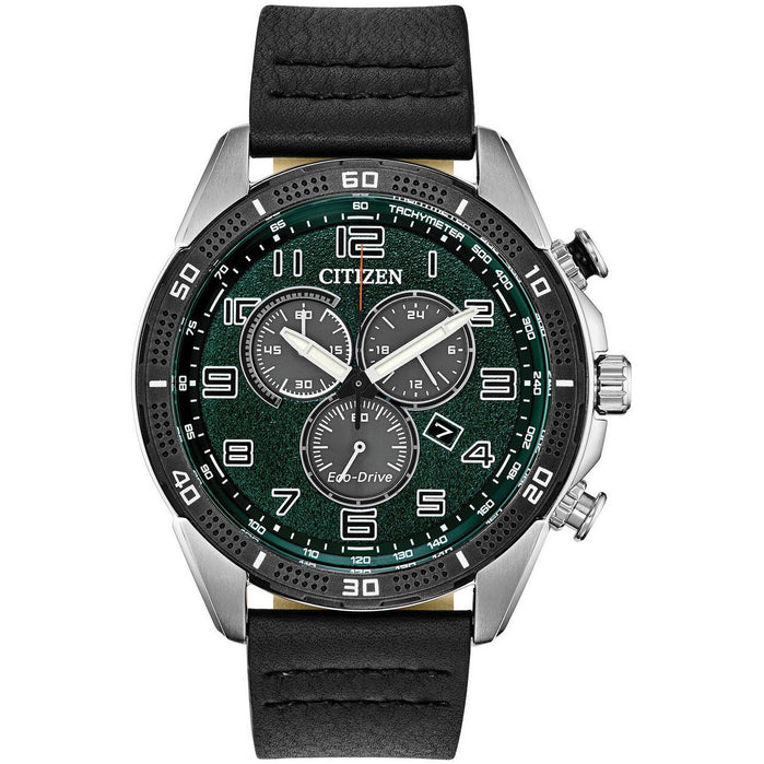 Citizen Eco-Drive Action Required LTR  Black Green angled shot picture