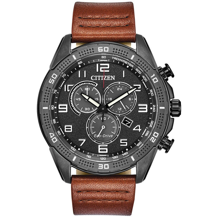 Citizen Eco-Drive Action Required LTR Black Brown angled shot picture