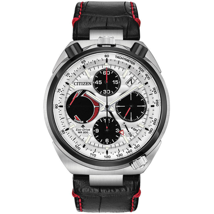 Citizen Eco-Drive Tsuno Chrono Racer Black Red angled shot picture