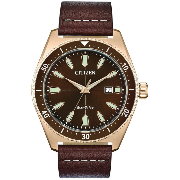 Citizen Eco-Drive Brycen Brown Gold angled shot picture