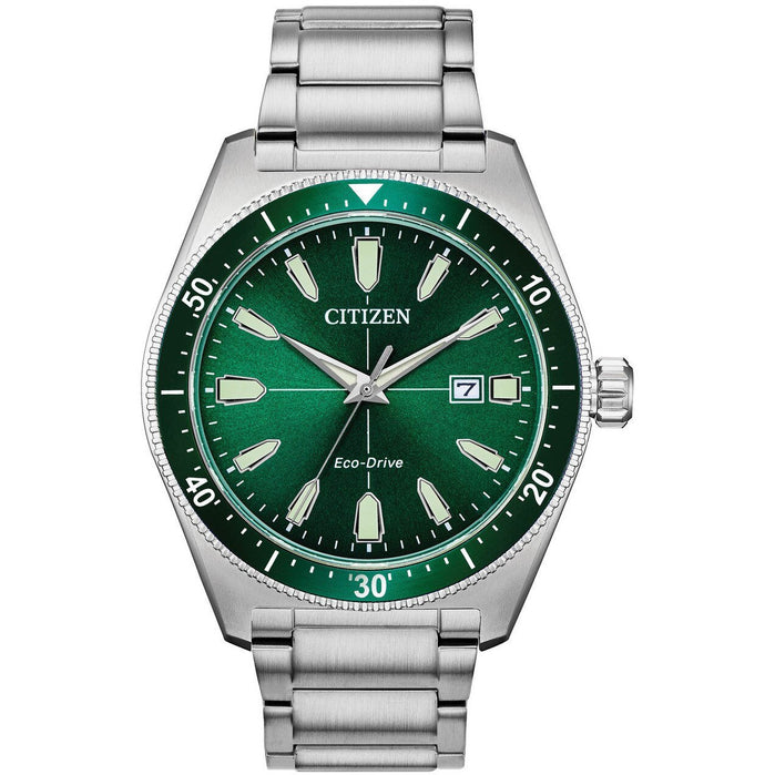 Citizen Eco-Drive Brycen Silver Green angled shot picture