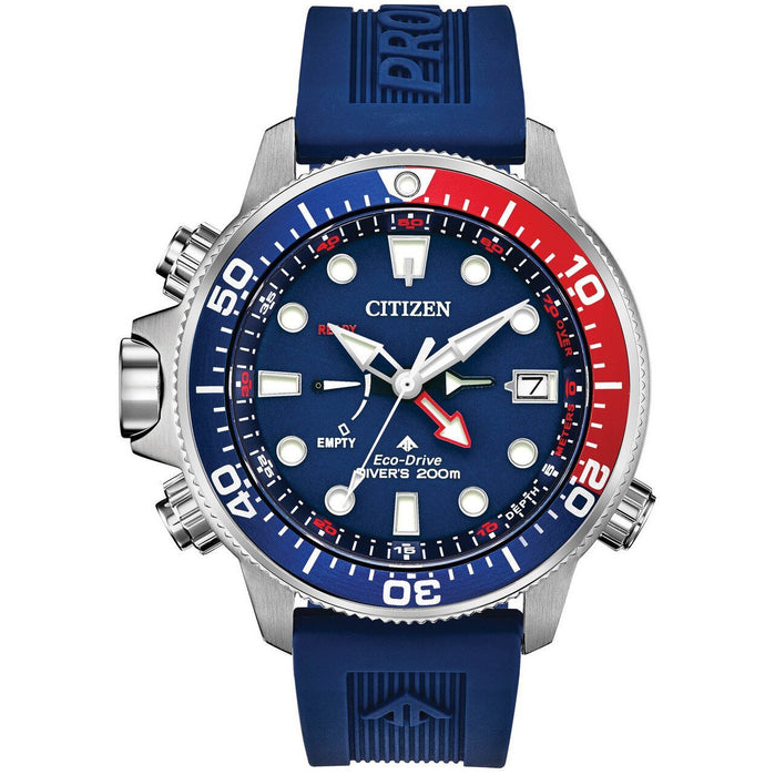Citizen Eco-Drive Promaster Aqualand Blue Red angled shot picture