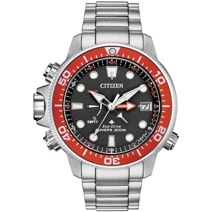 Citizen Eco-Drive Promaster Aqualand Grey Red angled shot picture