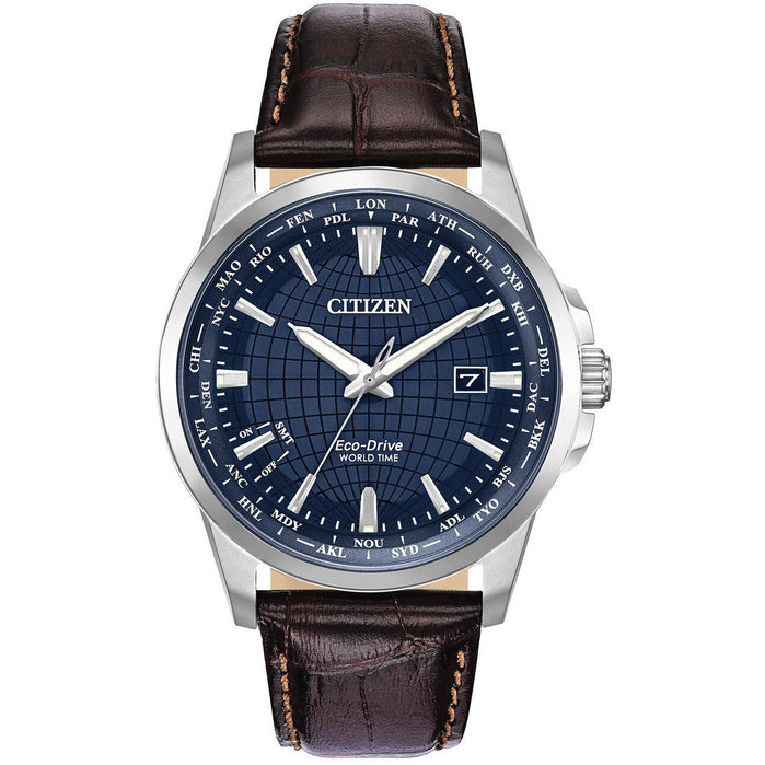Citizen Eco-Drive Mens World Time Perpetual Blue Brown angled shot picture