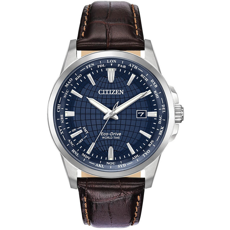 Citizen Eco-Drive Mens World Time Perpetual Blue Brown