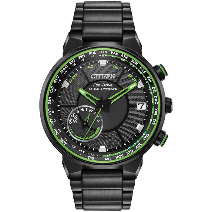 Citizen Eco-Drive Satellite Wave GPS Freedom Green Black angled shot picture