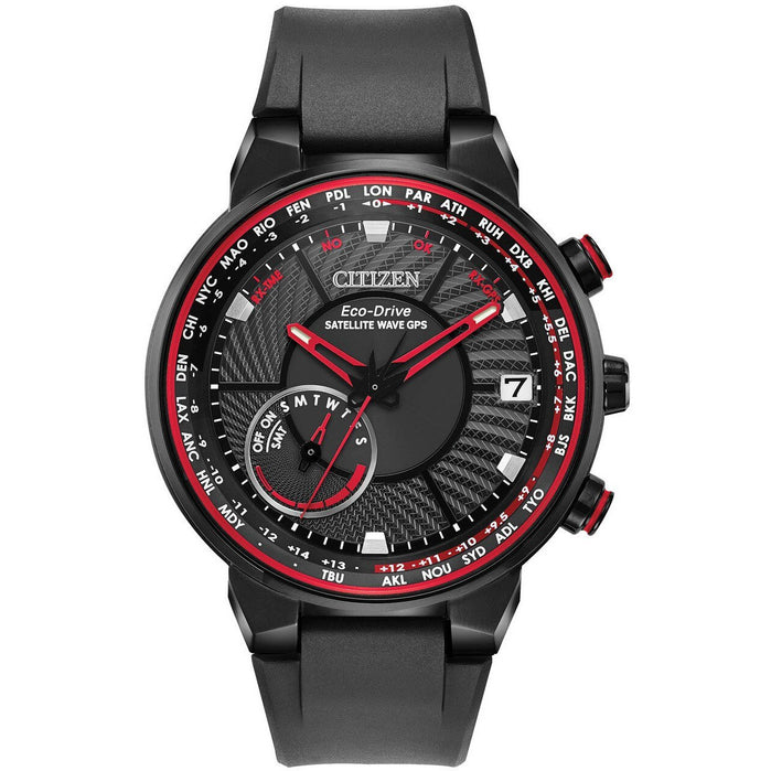 Citizen Eco-Drive Satellite Wave GPS Freedom Red Black angled shot picture