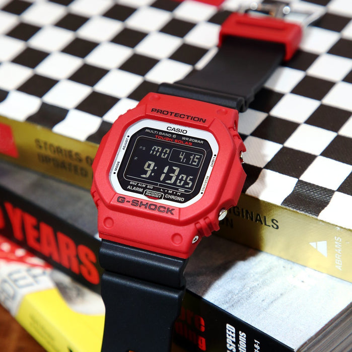 G-Shock GWM5610RB Series Classic Solar Digital Red Black angled shot picture