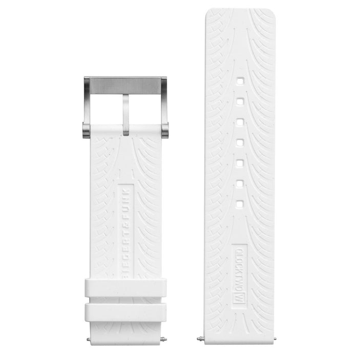 Qlocktwo W 24mm Strap White Rubber angled shot picture