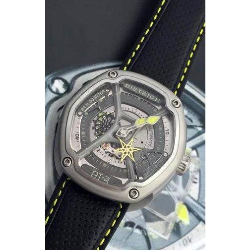 Dietrich Perforated Leather Strap with Yellow Stitching angled shot picture