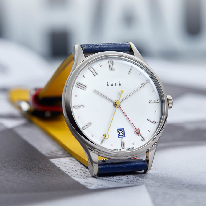 DuFa Weimar Bauhaus 100 Year Anniversary Edition GMT Blue White angled shot picture