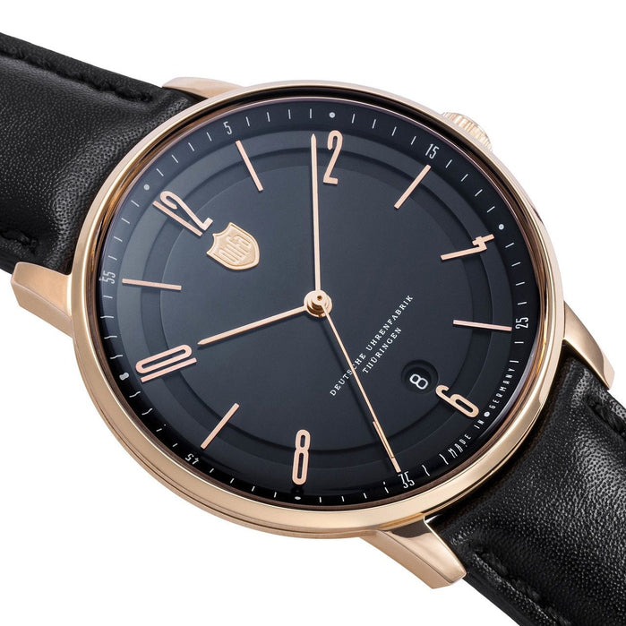 DuFa Bayer Swiss Automatic Black Rose Gold angled shot picture