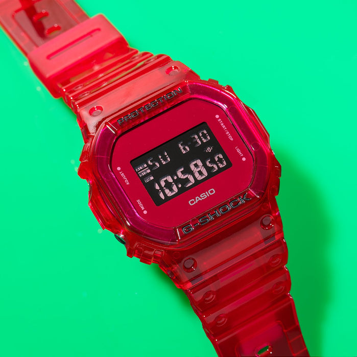 G-Shock DW5600SB Skeleton Digital Red angled shot picture
