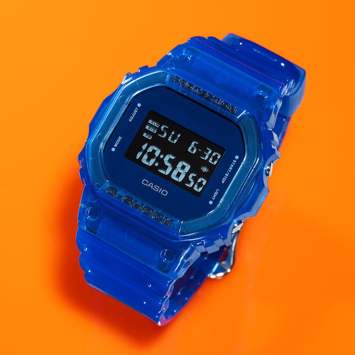 G-Shock DW5600SB Skeleton Digital Blue angled shot picture