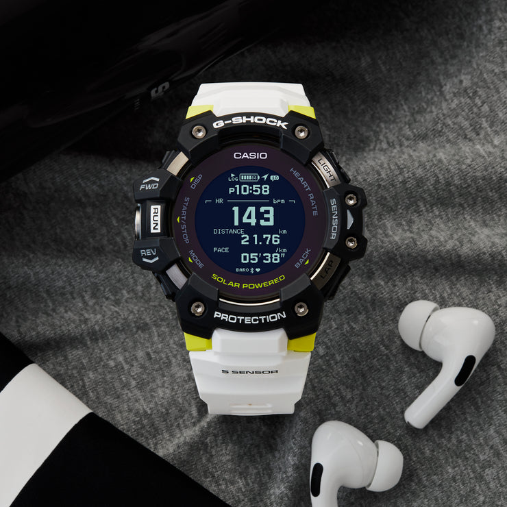 G-Shock GBDH1000 Heart-Rate Monitor Smartwatch White Neon