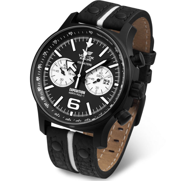 Vostok-Europe Expedition North Pole Chrono Black White angled shot picture