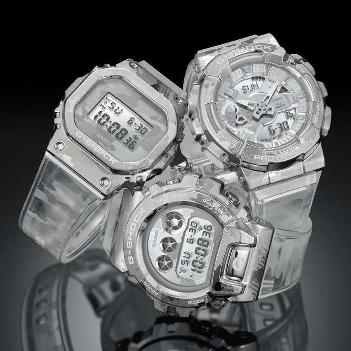 G-Shock GM110SCM Metal Camo Silver Clear angled shot picture