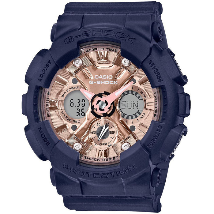 G-Shock GMAS120 S Series Ana-Digi Navy Rose Gold angled shot picture