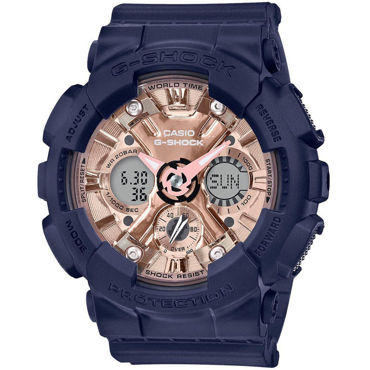 G-Shock GMAS120 S Series Ana-Digi Navy Rose Gold