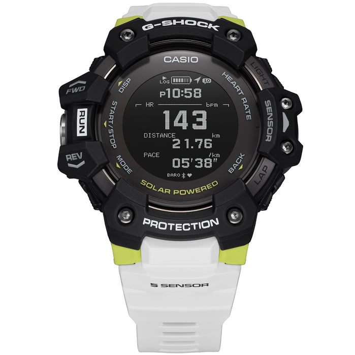 G-Shock GBDH1000 Heart-Rate Monitor Smartwatch White Neon angled shot picture