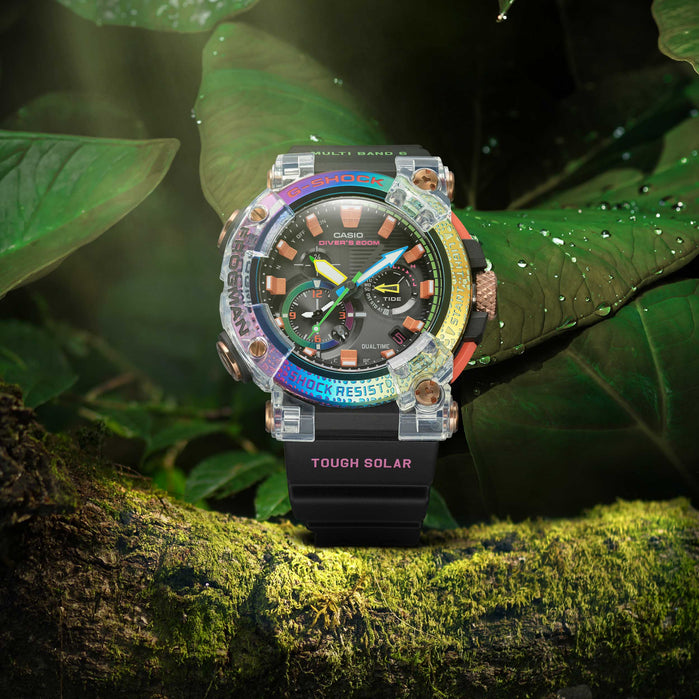 G-Shock Master-G Frogman Connected GWFA1000BRT-1 Borneo Rainbow Toad angled shot picture