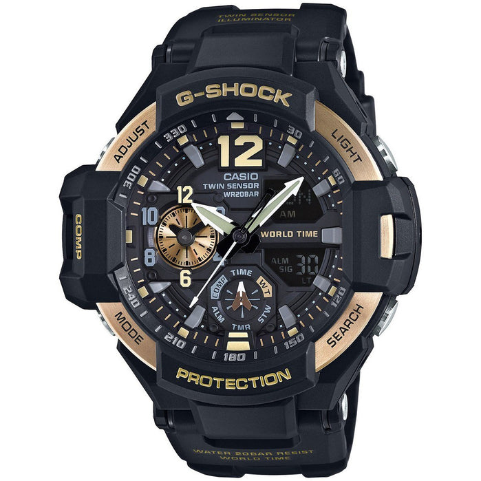 G-Shock Gravitymaster Aviation Black Gold angled shot picture