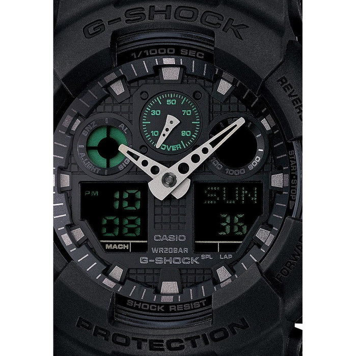 G-Shock GA-100MB Classic X-Large Digital Matte Black Green angled shot picture