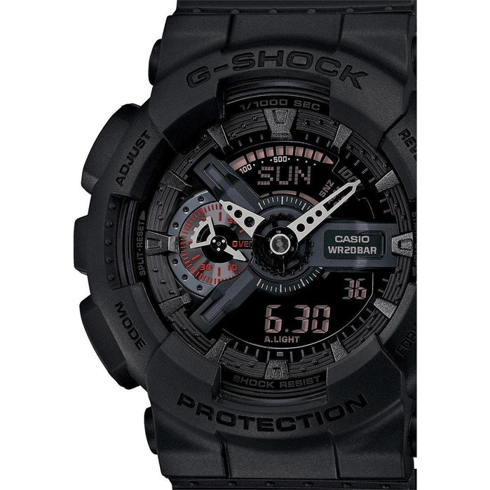 G-Shock GA-110MB Classic Military X-Large Matte Black angled shot picture
