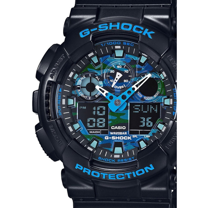 G-Shock GA-100CB Ana-Digi Black Blue Camo angled shot picture