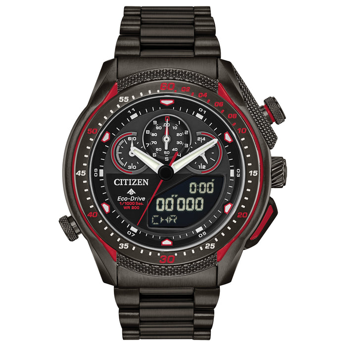 Citizen Eco-Drive Promaster SST Chronograph Black Red angled shot picture
