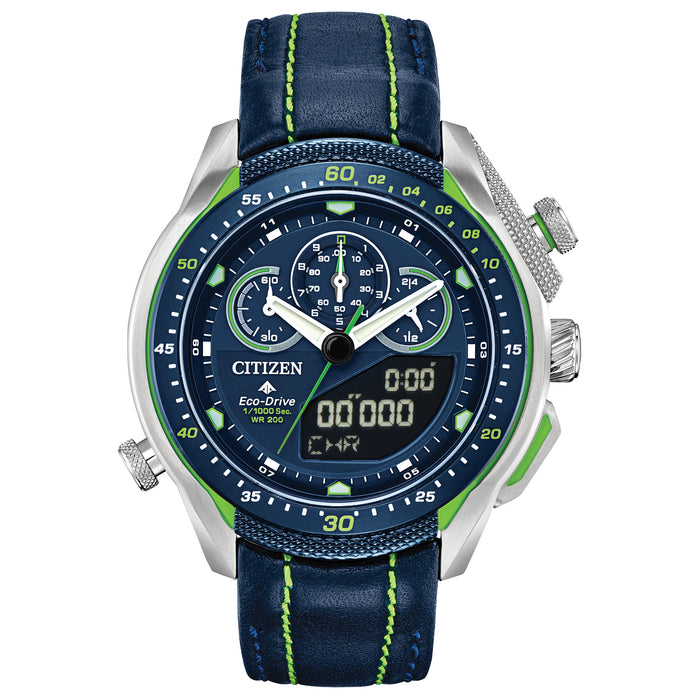 Citizen Eco-Drive Promaster SST Chronograph Blue Green angled shot picture