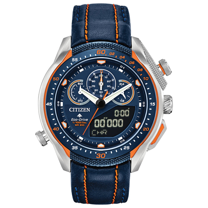 Citizen Eco-Drive Promaster SST Chronograph Blue Orange angled shot picture