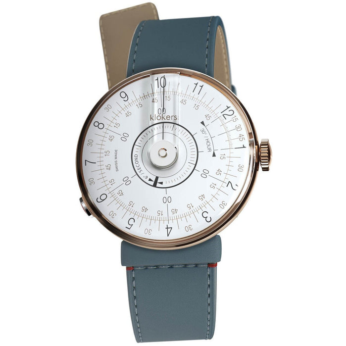 Klokers KLOK-08-D1 Rose Gold Vintage Blue angled shot picture