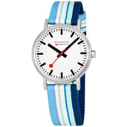 Mondaine Classic 40mm Blue Purple Stripe