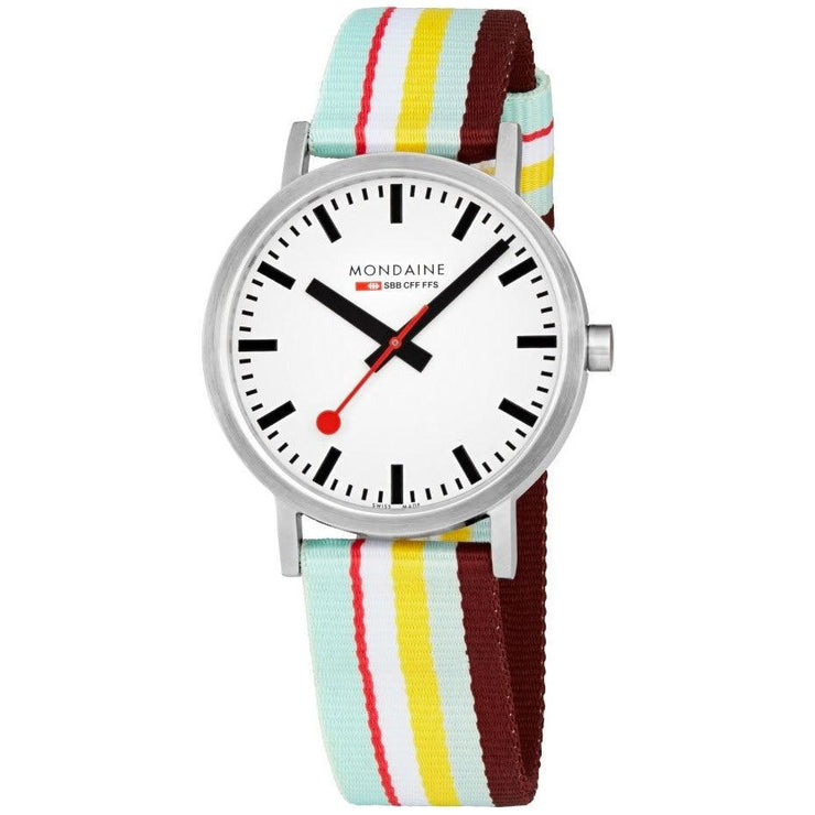 Mondaine Classic 40mm Red Yellow Stripe